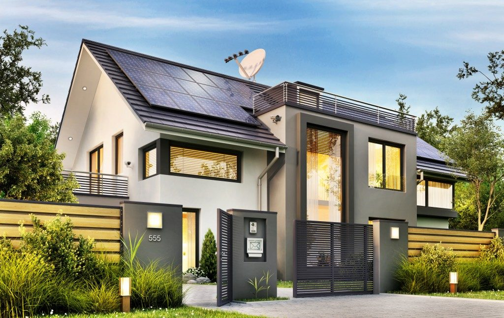 Beautiful modern house with garden and solar panels