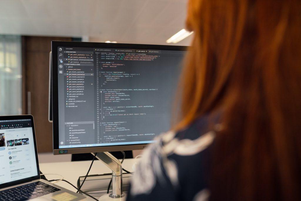 woman looking at code